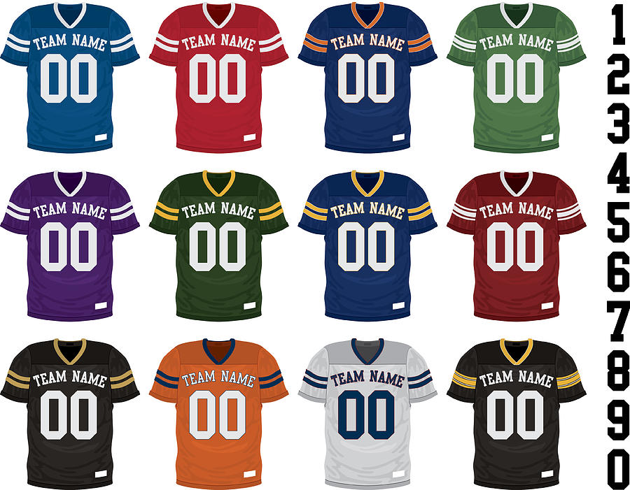 Football Jersey Collection Drawing by Steve Zmina