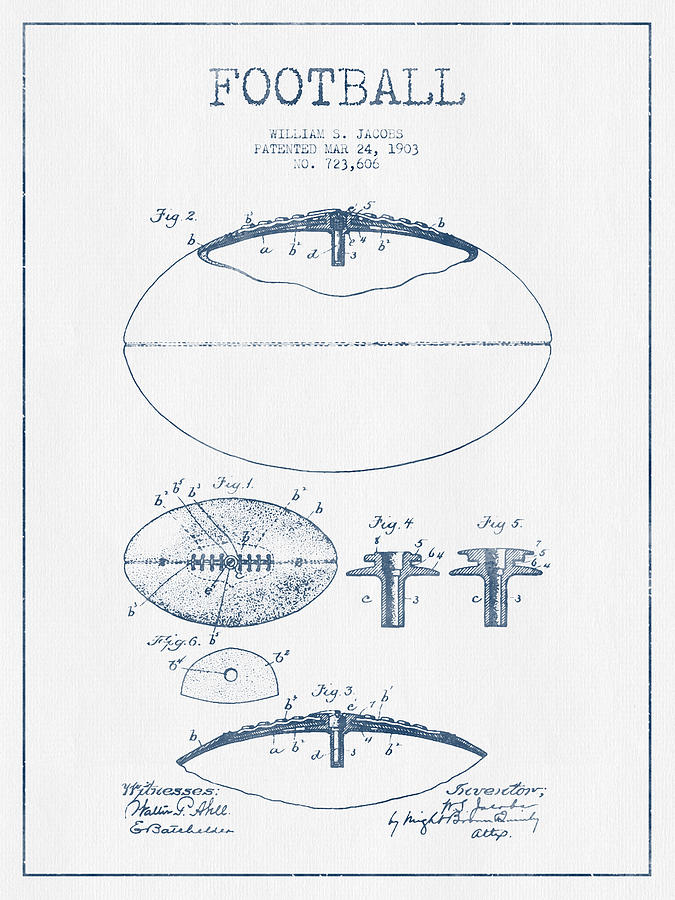 Football Patent Drawing From 1903 - Blue Ink Digital Art