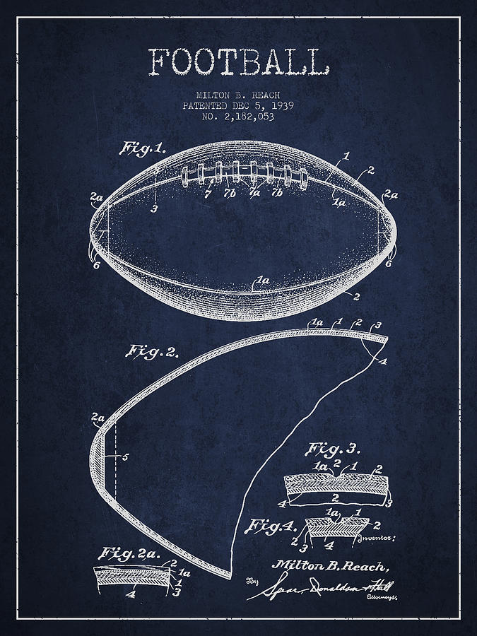 Football Patent Drawing From 1939 Digital Art