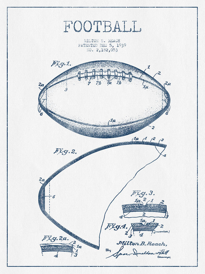 Football Patent Drawing From 1939 - Blue Ink Digital Art