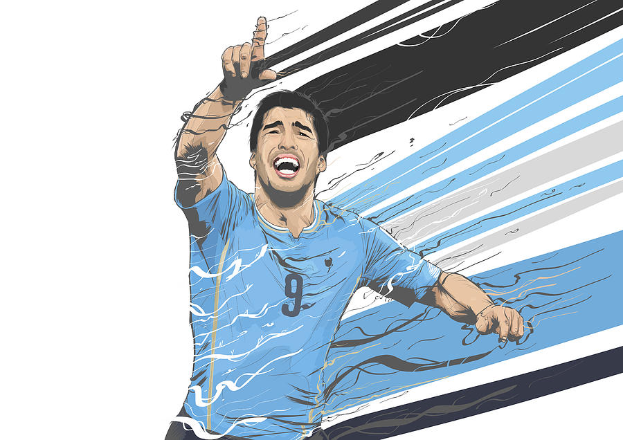 Football Stars Luis Suarez Uruguay Digital Art By Akyanyme