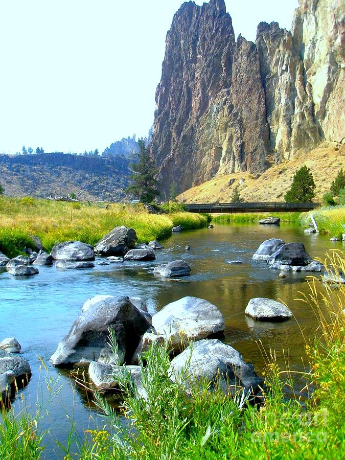 Bridge Photograph - Footbridge At Smith Rock by Liz Snyder