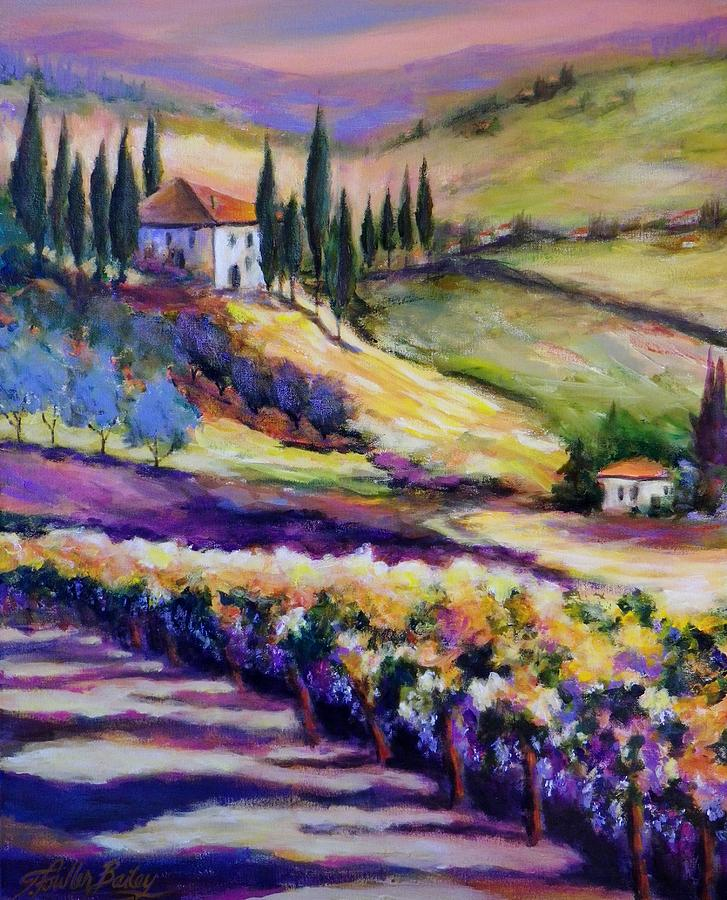 Tuscany Painting - Foothills Vines And Olives Of Tuscany  Sold by Therese Fowler-Bailey