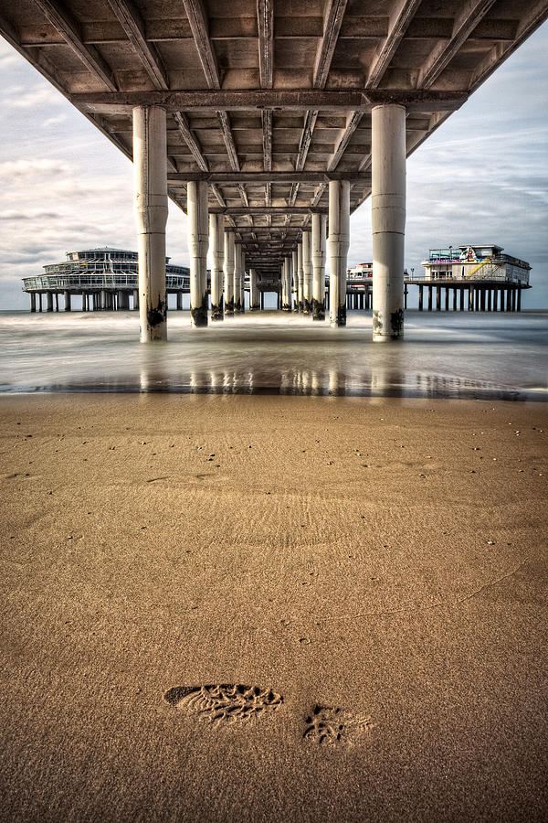Piers Photograph - Footprints In The Sand by Dave Bowman