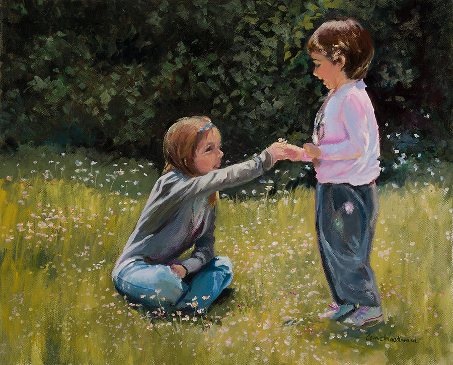 Two Kids Painting - For Me? by Jane Woodward