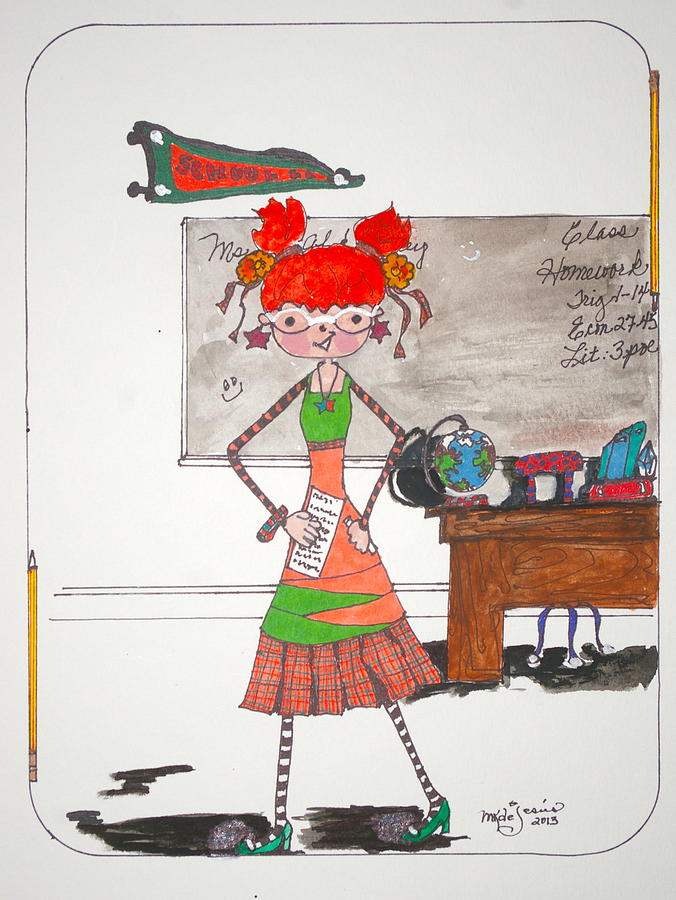 Teacher Drawing - For My Teacher by Mary Kay De Jesus