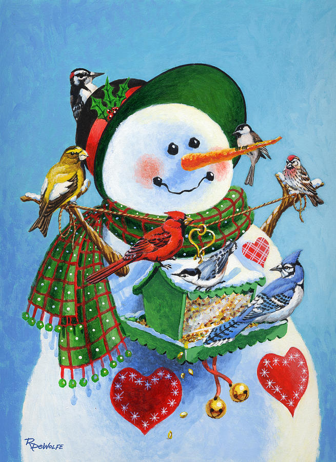 Snowman Painting - For The Birds by Richard De Wolfe