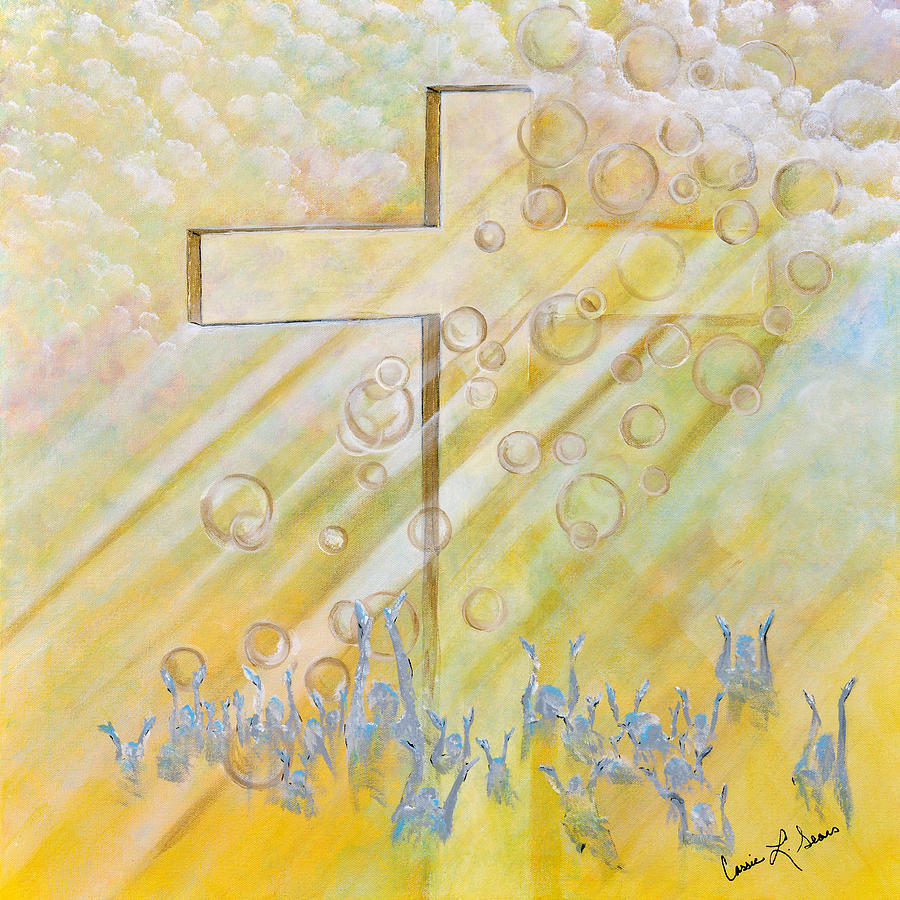 Cross Painting - For The Cross by Cassie Sears