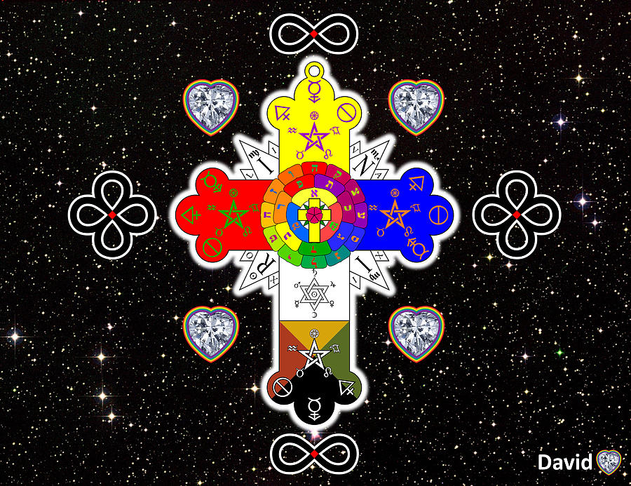 Rosy Cross Digital Art - For The Love Of God by David Diamondheart