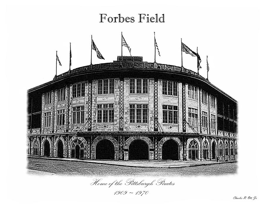 Ballpark Drawing - Forbes Field by Charles Ott