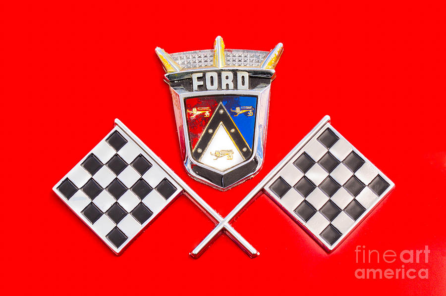 57 T-bird Photograph - Ford Emblem by Jerry Fornarotto