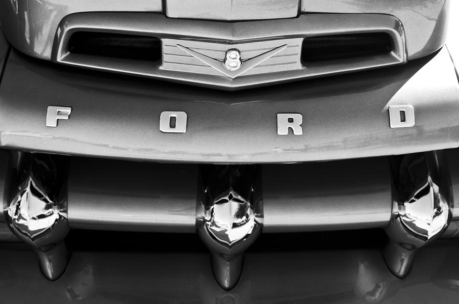 Black And White Photograph - Ford F-1 Pickup Truck Grille Emblem by Jill Reger