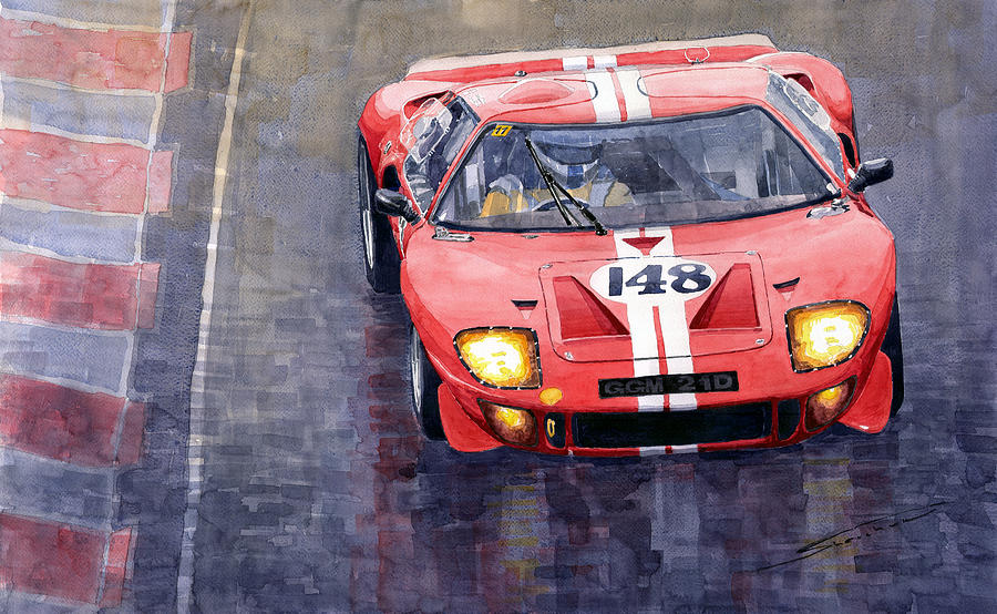 Watercolor Painting Ford Gt   Le Mans By Yuriy Shevchuk