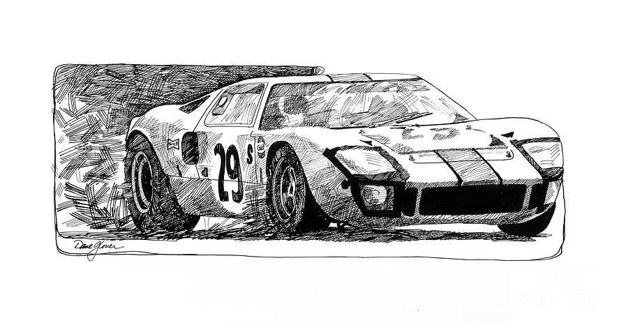 Automotive Drawing Ford Gt  By David Lloyd Glover