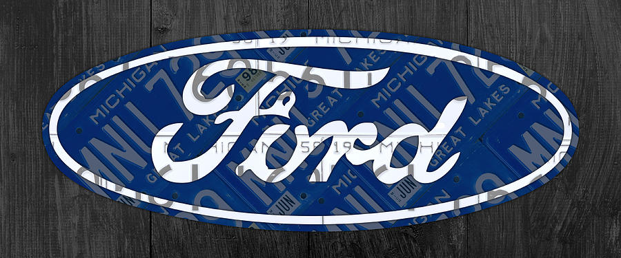 Ford Mixed Media - Ford Motor Company Retro Logo License Plate Art by Design Turnpike