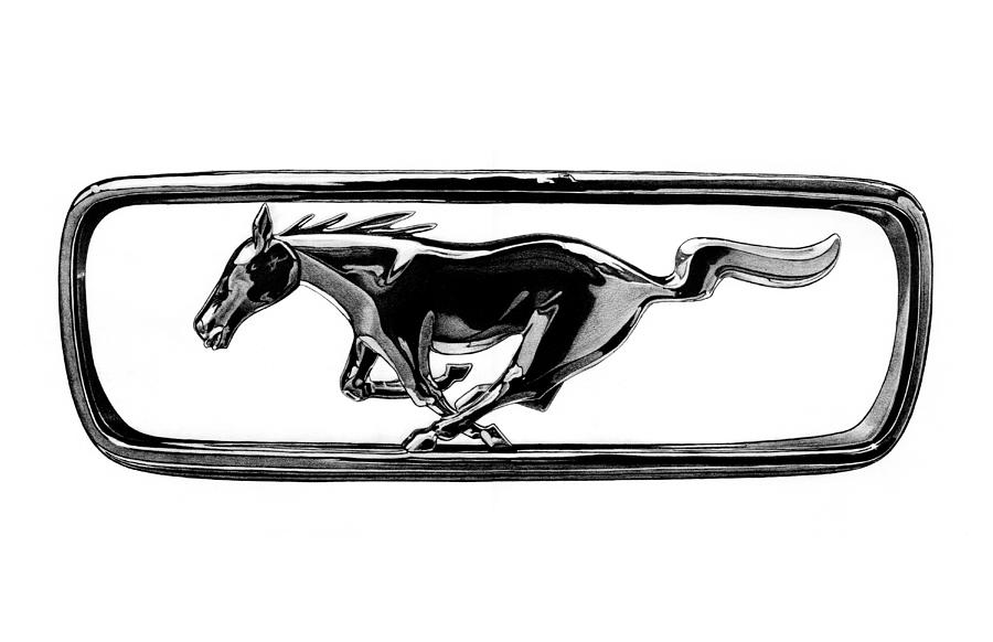 ford mustang grill emblem drawing by nick toth. Black Bedroom Furniture Sets. Home Design Ideas