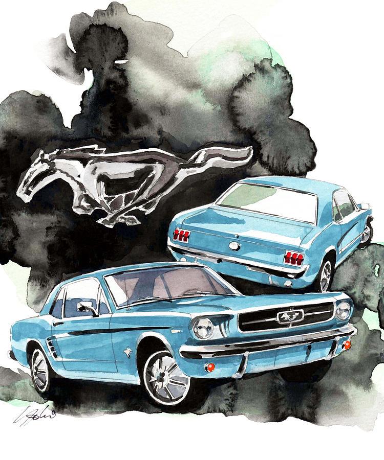 Ford Mustang Painting by Yoshiharu Miyakawa