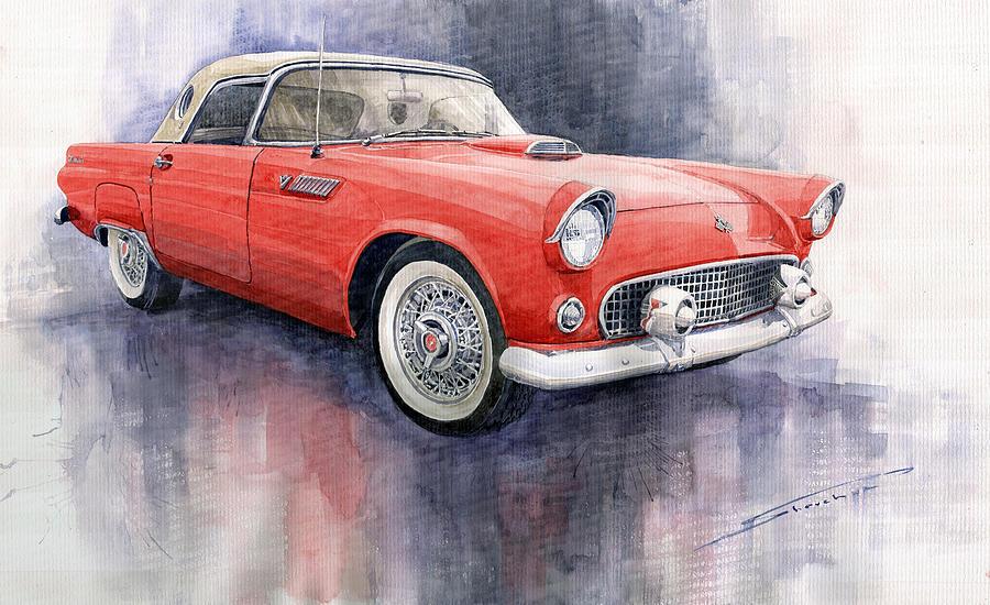 Watercolor Painting - Ford Thunderbird 1955 Red by Yuriy  Shevchuk