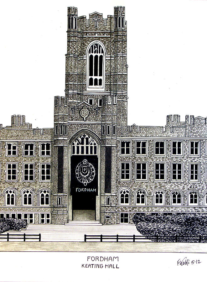 Pen And Ink Drawings Drawing - Fordham by Frederic Kohli