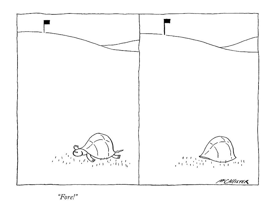 Fore! Drawing by Richard McCallister