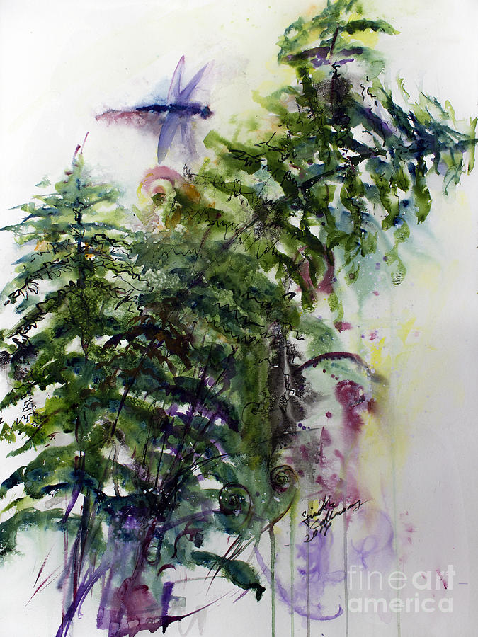 Forest Fern and Dragonfly Painting by Ginette Callaway