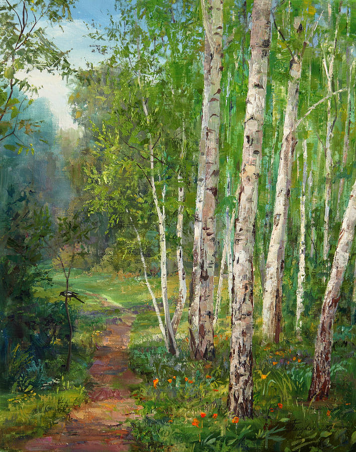 Forest Painting - Russian Forest Footpath by Galina Gladkaya