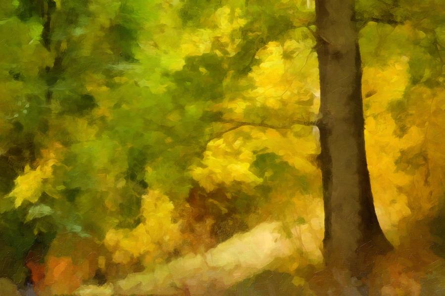 Autumn Glow Painting - Autumn Forest Impression by Lutz Baar