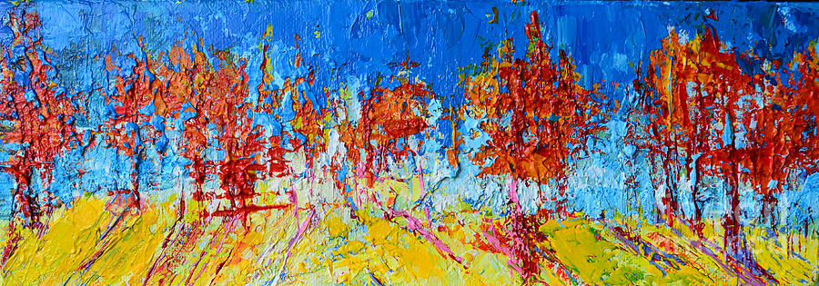 Tree Forest 3 Modern Impressionist Landscape Painting Palette Knife Work by Patricia Awapara