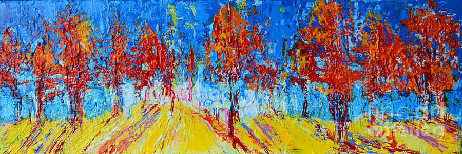 Tree Forest 4 modern impressionist landscape painting palette knife work by Patricia Awapara