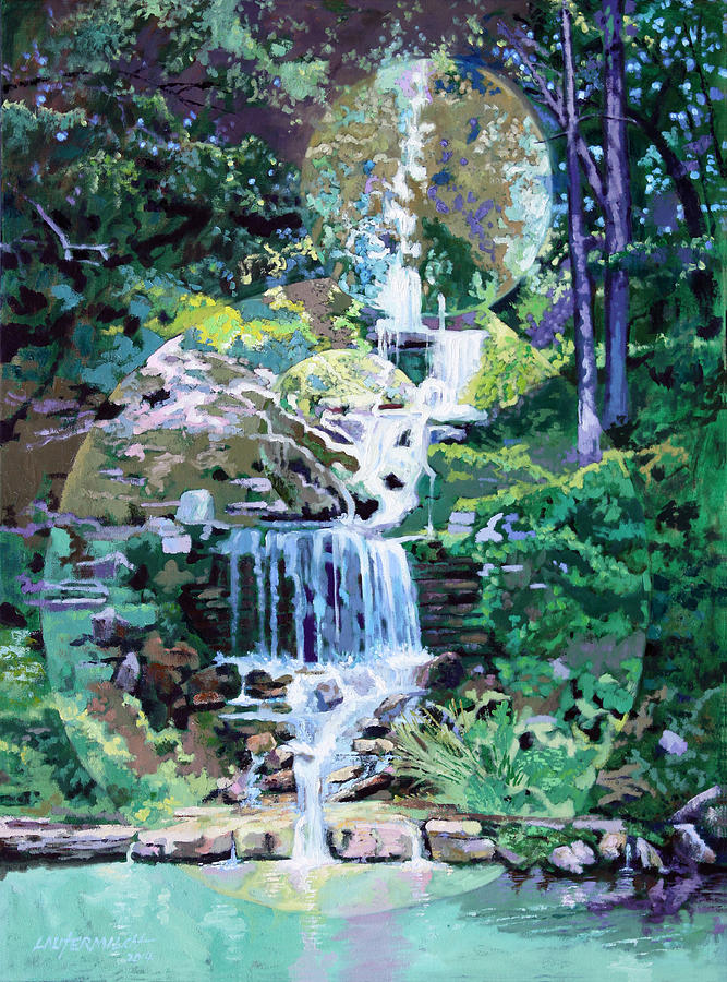 Waterfall Painting - Forest Park Waterfall by John Lautermilch