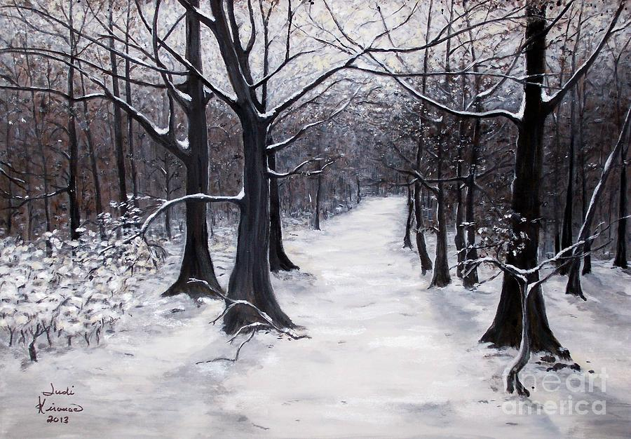 Forest Path In Winter Painting by Judy Kirouac