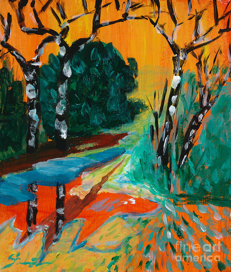 Miniature Landscape Painting Painting - Forest Path Miniature by Lidija Ivanek - SiLa