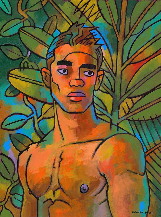 Male Figure Painting - Forest Spirit 2 by Douglas Simonson