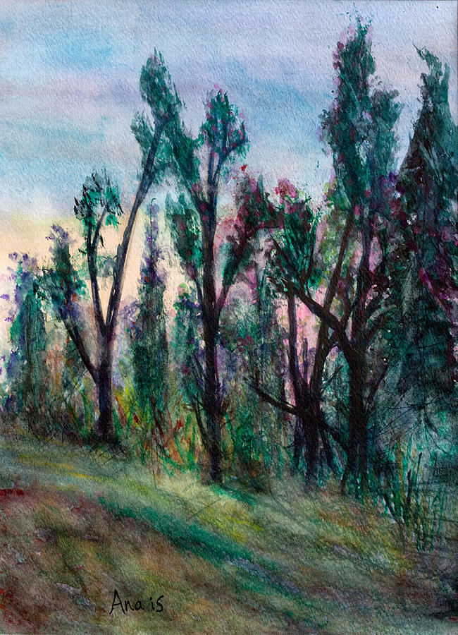Forest Tress Sunset Red Blue Painting - Forest Sunset by Anais DelaVega
