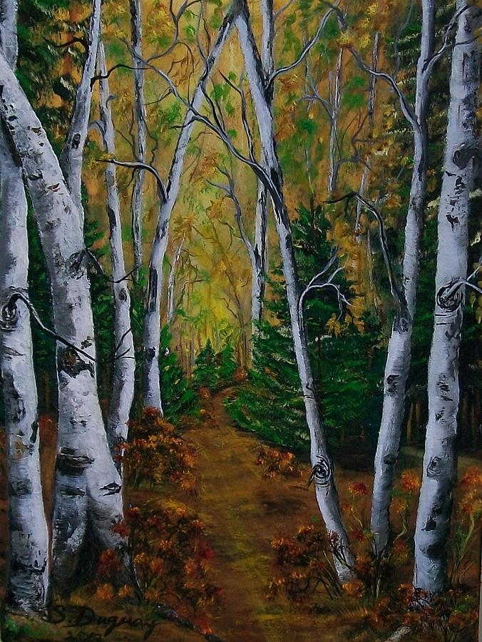 Birch Tree Forest Trail Painting
