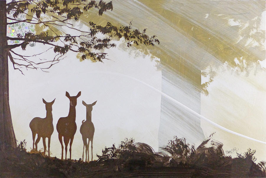 Deer Painting - Forest Trio by Jack Hanzer Susco