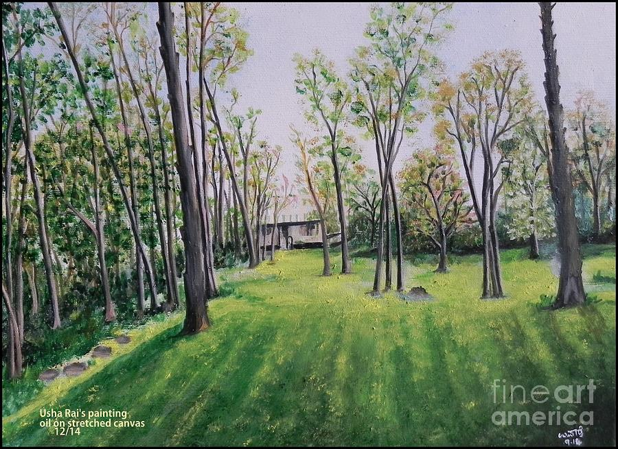 Nature Painting - Forest View by Usha Rai