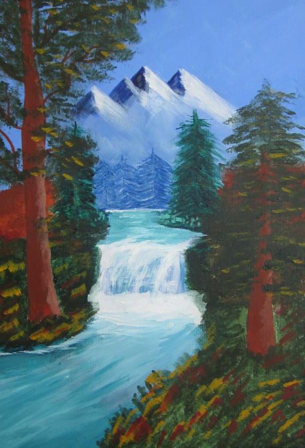 Mountains Painting - Forest Waterfall by Haleema Nuredeen