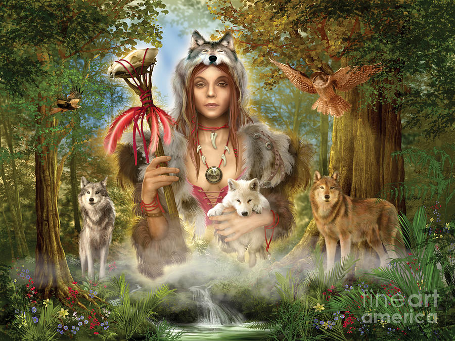 Woman Greeting Cards Digital Art - Forest Wolves by Ciro Marchetti