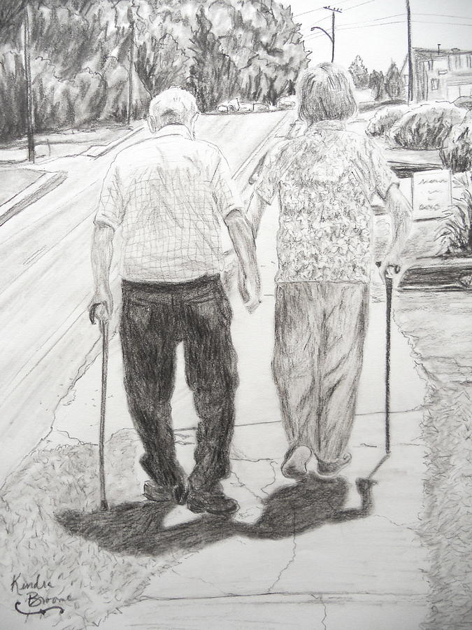 Elderly Couple Drawing - Forever by Kendra DeBerry