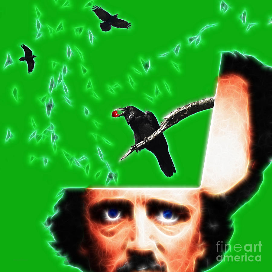 Edgar Photograph - Forevermore - Edgar Allan Poe - Green - Square by Wingsdomain Art and Photography
