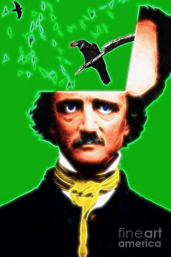 Edgar Photograph - Forevermore - Edgar Allan Poe - Green - Standard Size by Wingsdomain Art and Photography