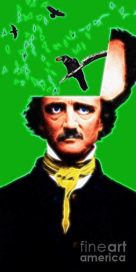 Edgar Photograph - Forevermore - Edgar Allan Poe - Green by Wingsdomain Art and Photography
