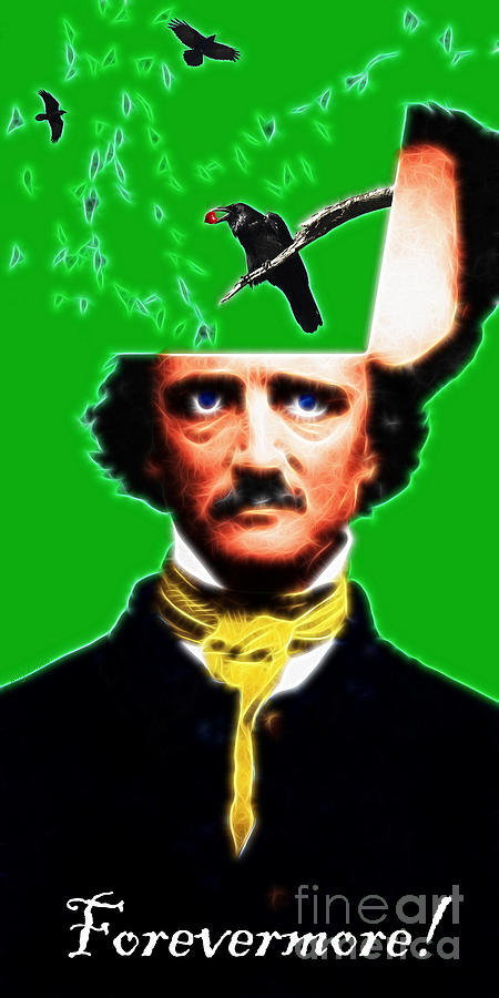 Edgar Photograph - Forevermore - Edgar Allan Poe - Green - With Text by Wingsdomain Art and Photography