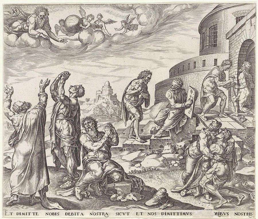 Lords Prayer Drawing - Forgive Us Our Debts, As We Also Have Forgiven Our Debtors by Johannes Wierix And Maarten Van Heemskerck And Philips Galle