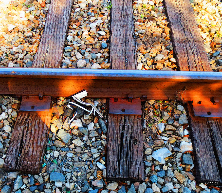 Railroad Painting - Forgotten - Abandoned Shoe On Railroad Tracks by Sharon Cummings