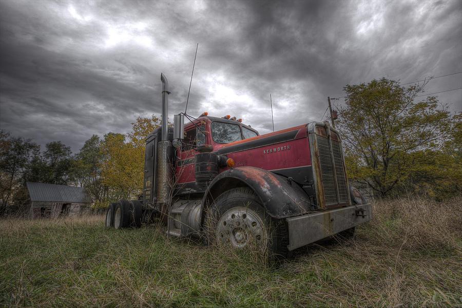 Semi Photograph - Forgotten Big Rig 2014 V2 by Aaron J Groen