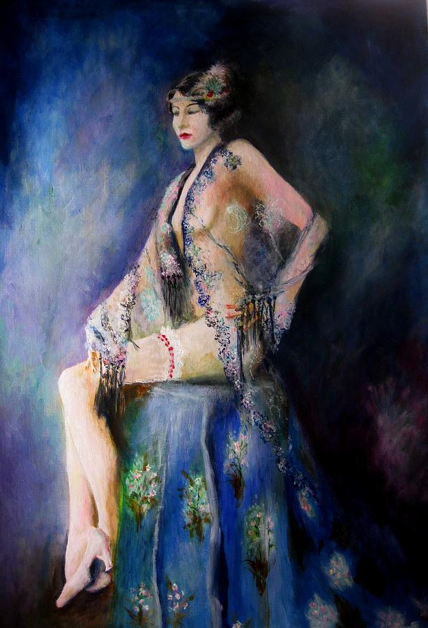 Vintage Painting - Forgotten Dreams- The Lady by Siobhan Lewis