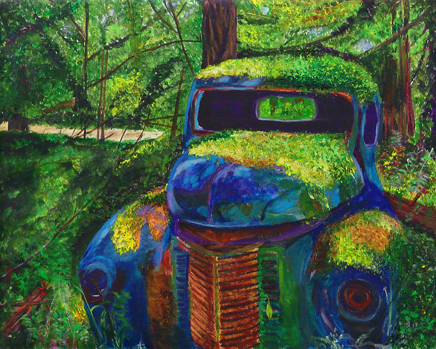 Old Car Painting - Forgotten In The Forest by Frankie Picasso