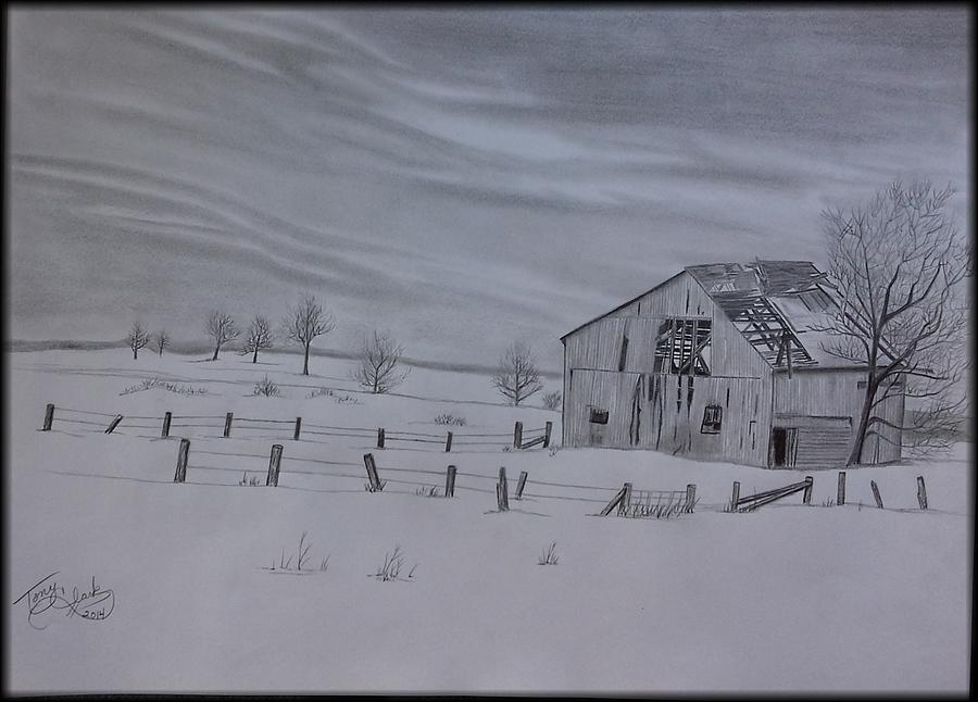 Landscape Drawing - Forgotten In The Snow by Tony Clark